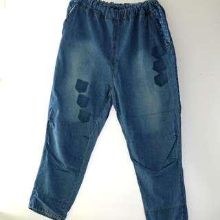 冇牌子。鬆身牛仔褲 #拼布 #補丁