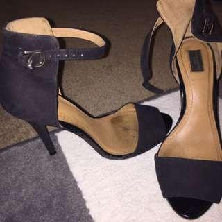 Zara Ankle Strap Sandals Heels Black Size 8