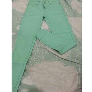 Mirrou Mint Green Full Length Skinny Pants