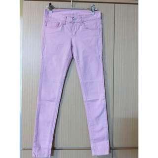 韓國粉牛仔長褲