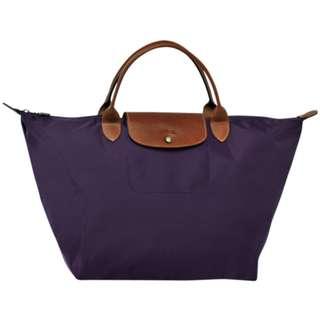 Longchamp Le Pliage 摺疊包 短帶M 【藍莓色、深紫色、Bilberry】