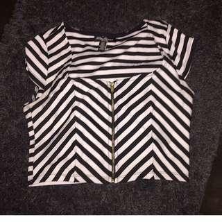 Striped Zip Up Crop Top