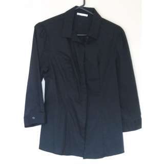 Black button-up collared shirt
