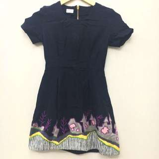 DISKON 50% Embroidery Navy Blue Dress