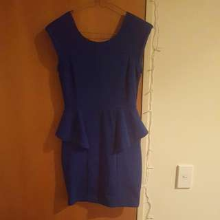 Blue Dotti Peplum Dress