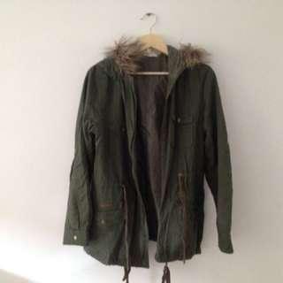 green khaki fur hood coat