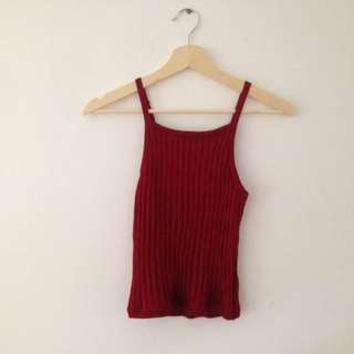 ribbed red singlet