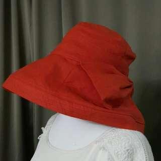 橘紅色蝴蝶結 遮陽帽 日製