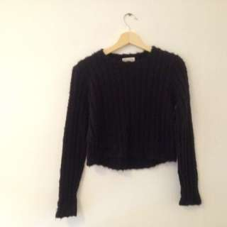 ribbed soft cropped sweater