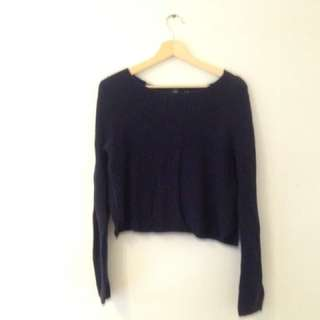 knitted navy blue cropped sweater
