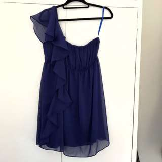 Blue One Shoulder Dress S12