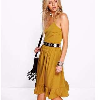 Mustard Yellow Spaghetti Strap Frill Hem Tie Back Midi Dress