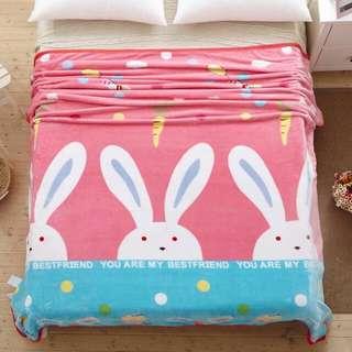 兔仔珊瑚絨毛毯