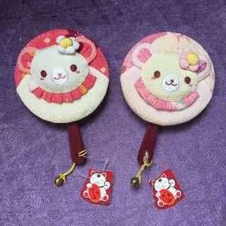粉紅色 桃紅色 立體小熊鏡子