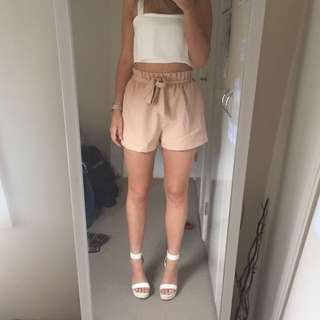 Light Pink Tie Up Shorts