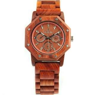 Redear Prague Series Red Sandalwood Wood Wooden Watch