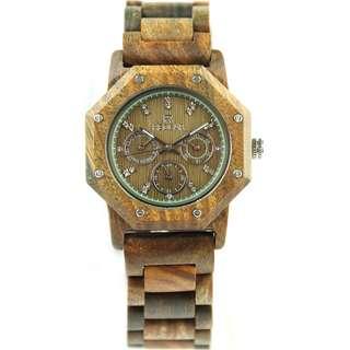 Redear Prague Series Green Sandalwood Wood Wooden Watch