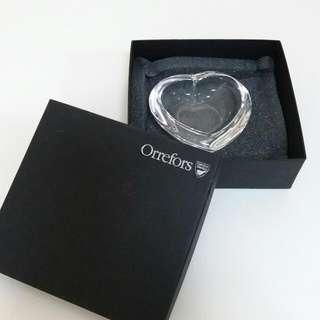 Orrefors Heart Shaped Crystal Bowl.