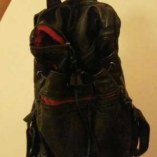 Faux Leather Black And Red Backpack