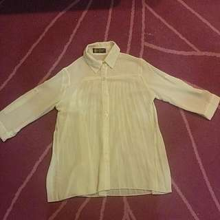 Queen Shop雪紡後百褶襯衫