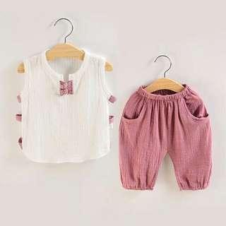 夏季兩件式套裝棉麻