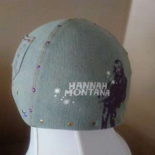 Bike Helmet, Hanna Montana Made Of Light Blue Denim. Purple Guitar