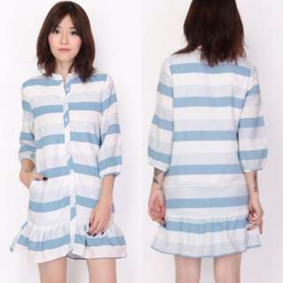 BN Aforarcade Selby Striped Shirt Romper In Sky Size S