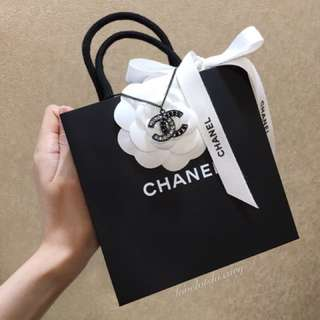 (SOLD) Brand New in Box Chanel 14B double CCs necklace all black with full clear and black crystals