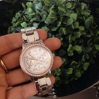 Guess Silver And Rose Gold Watch