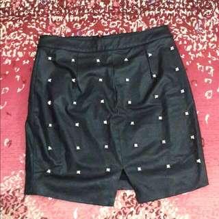 Something Borrowed Studded PU Skirt