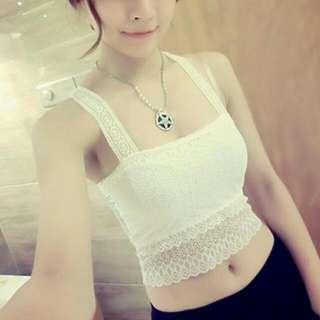 全新 熱賣 韓版性感美背鏤空雙層蕾絲細肩帶小可愛 白色