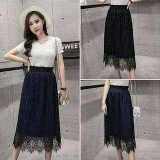 全新 現貨 兩面穿 韓版氣質優雅百褶蕾絲裙 藍色