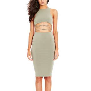 NOOKIE AUSTRALIA OLIVE GREEN MIDI DRESS