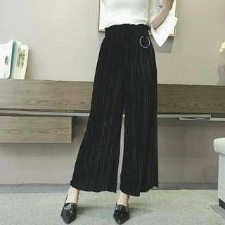 全新 韓版時尚圓環高腰顯瘦百褶褲闊腿褲寬褲 黑色