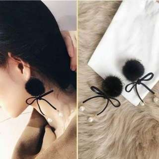 Winter Mink Fur Ball Pendant Female Bow Earrings Black