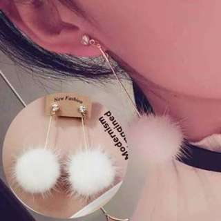 PomPom Long Diamond Water Mink Cute White