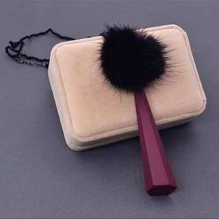 Pompom Plush Wooden Ball Long Black+maroon