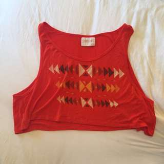 Wrkshp Cropped Orange Tribal Tank