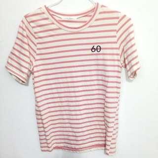 粉色條紋棉t恤 短袖 #百元全新女裝