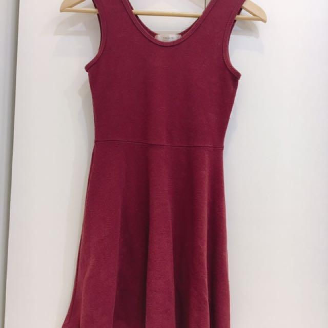 紅色棉小洋裝