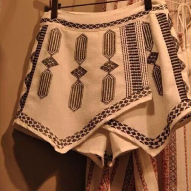 民族風刺繡闊腿褲裙