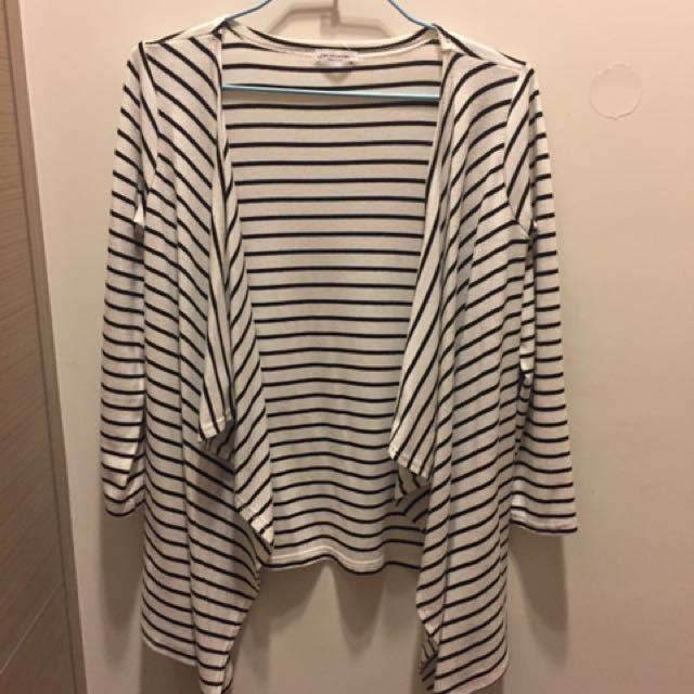 黑白條紋 不規則罩衫