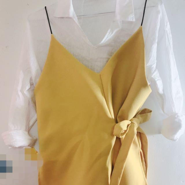 韓國🇰🇷修身綁帶背心 黃色 夏天春天