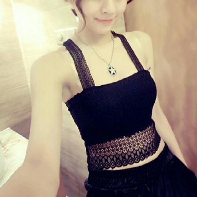 全新 現貨 熱賣 韓版性感美背鏤空雙層蕾絲細肩帶小可愛 黑色