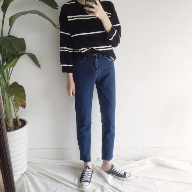 九分牛仔褲 深藍 M