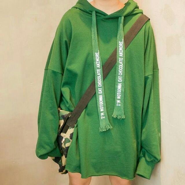 全新 現貨 韓版下擺毛鬚邊寬鬆衛衣抽繩連帽長袖T恤 墨綠色
