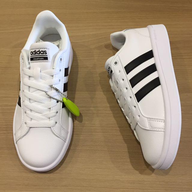 adidas cloudfoam advantage w 全皮 黑 白 休閒鞋 板鞋 三線logo 全新 公司貨