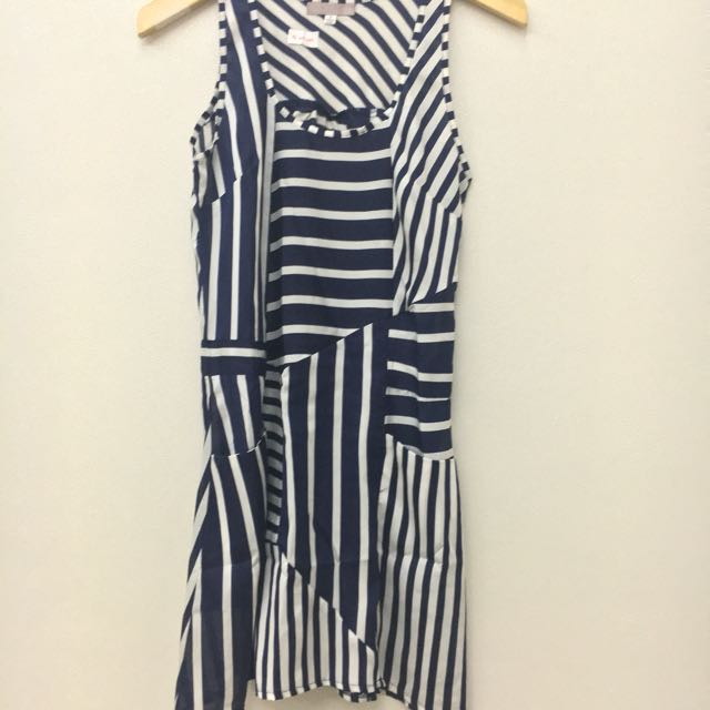 DISKON 50% Asymmetric Striped Dress