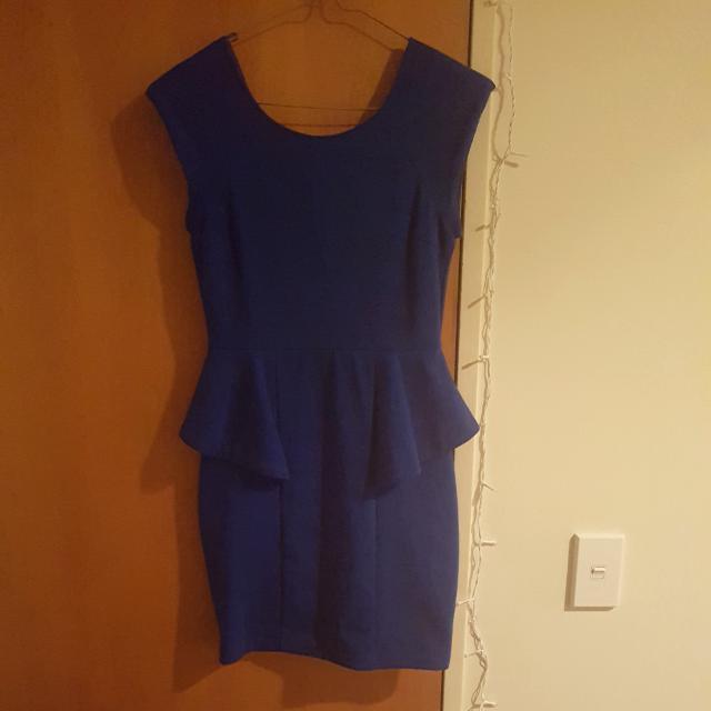 Blue Dotti Peplum Dress