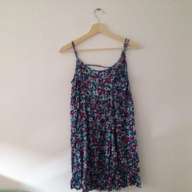 blue floral dress backless
